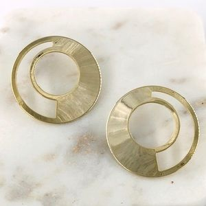 Geo Circle Hoop Stud Earrings in Gold
